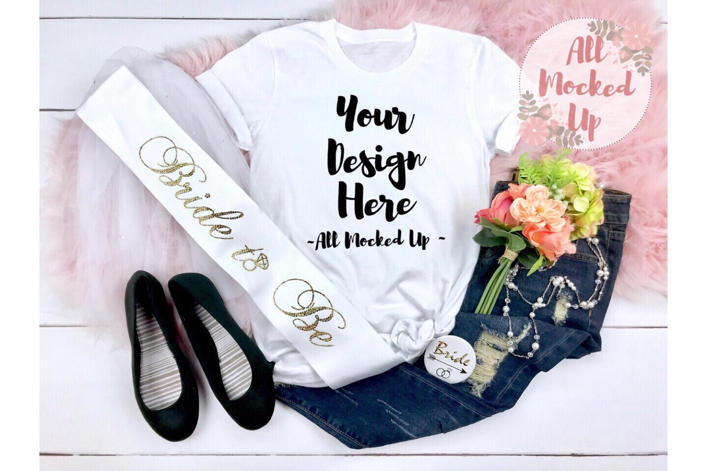 Bella Canvas 3001 or 3413 White Wedding Theme Mock Up 3/19 example image 1