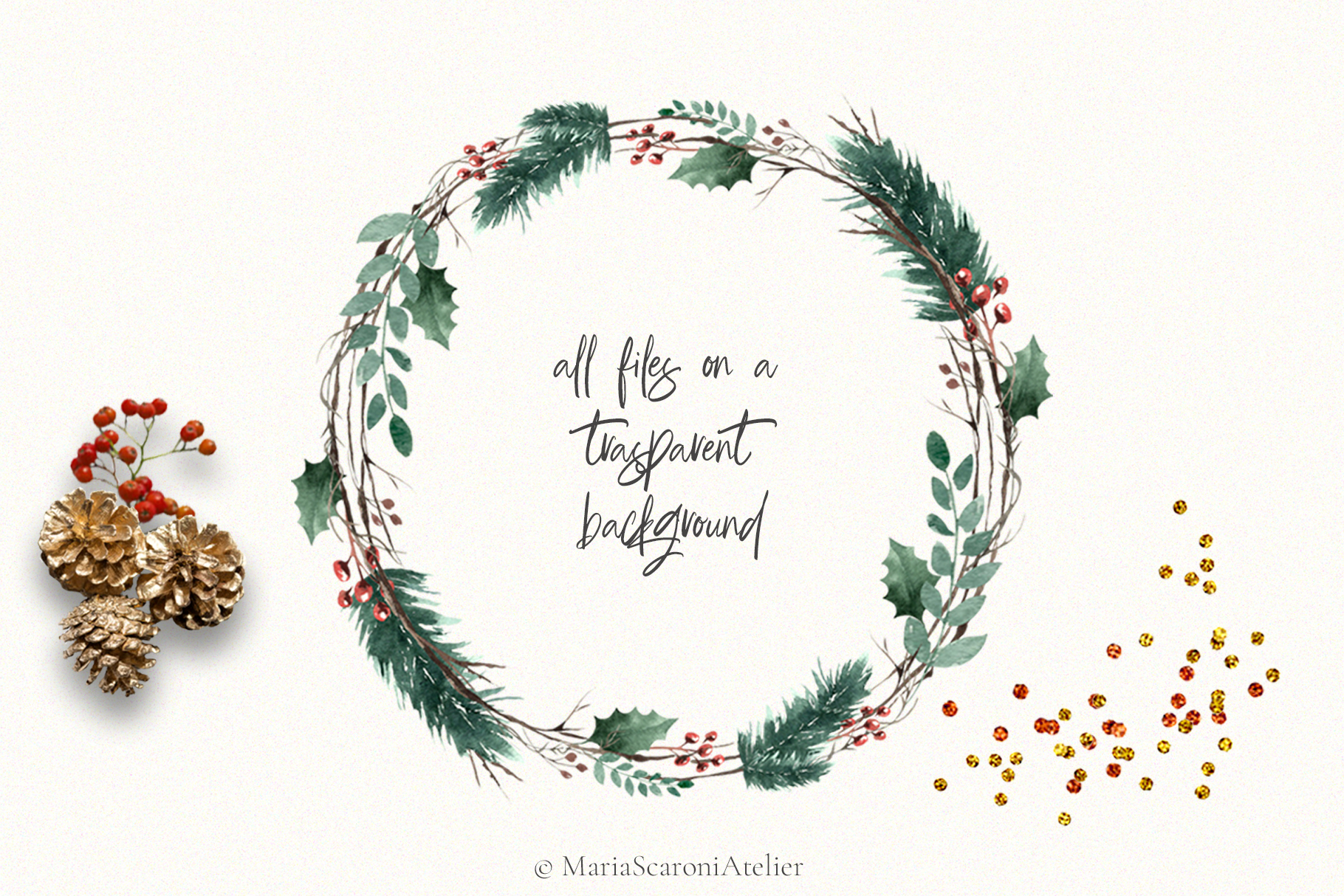 Christmas Watercolor Wreaths example image 4
