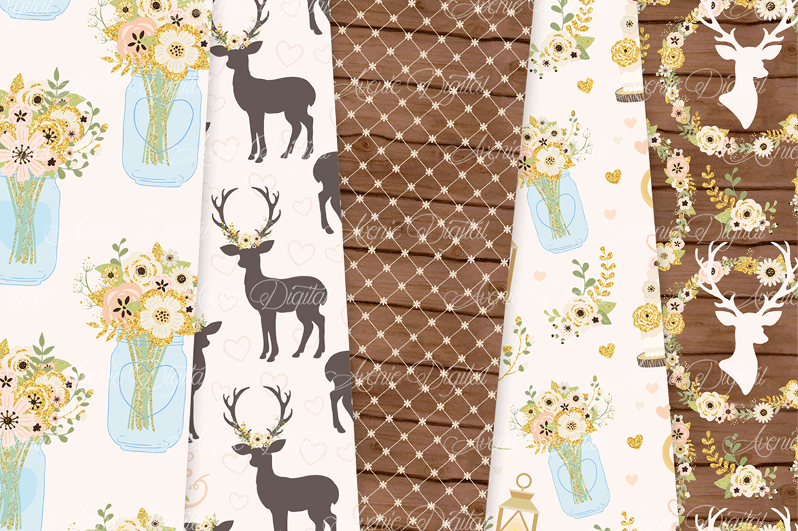 Ivory and Gold Wedding Digital Paper - Ivory Rustic Wedding Deer Seamless Patterns example image 3