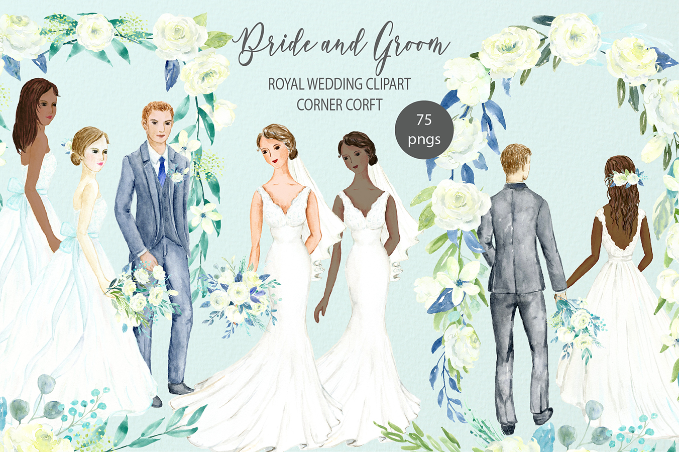 Bride and Groom Figurine Royal Wedding Clipart example image 1