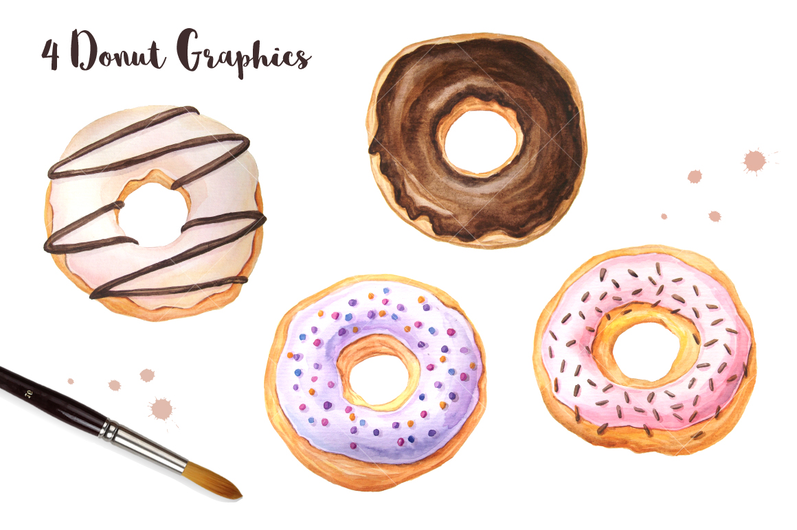 Donut Watercolor Patterns and Graphics example image 4