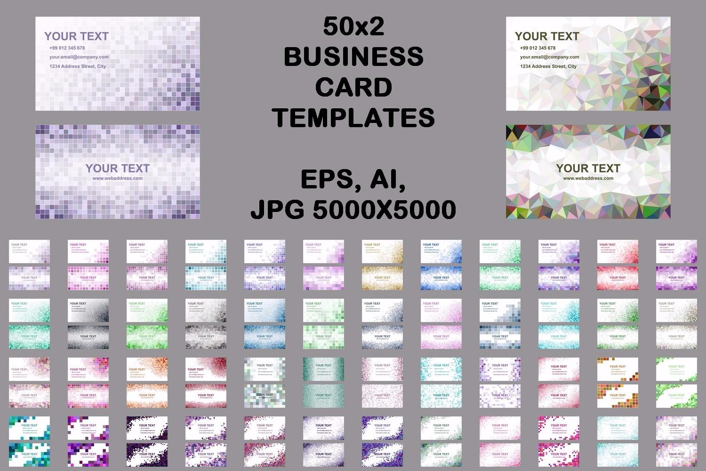 50x2 mosaic design business card templates (EPS, AI, JPG 5000x5000) example image 1