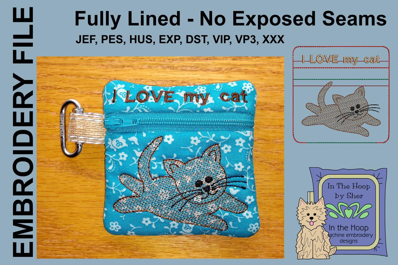 Kitten Mini Zipper Bag / Fully Lined, 4X4 HOOP example image 1