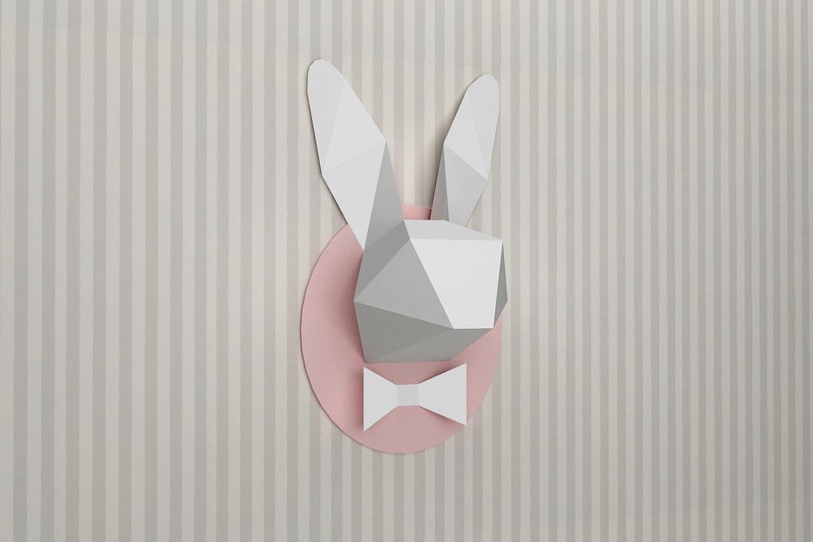 DIY Rabbit head trophy - 3d papercraft example image 1