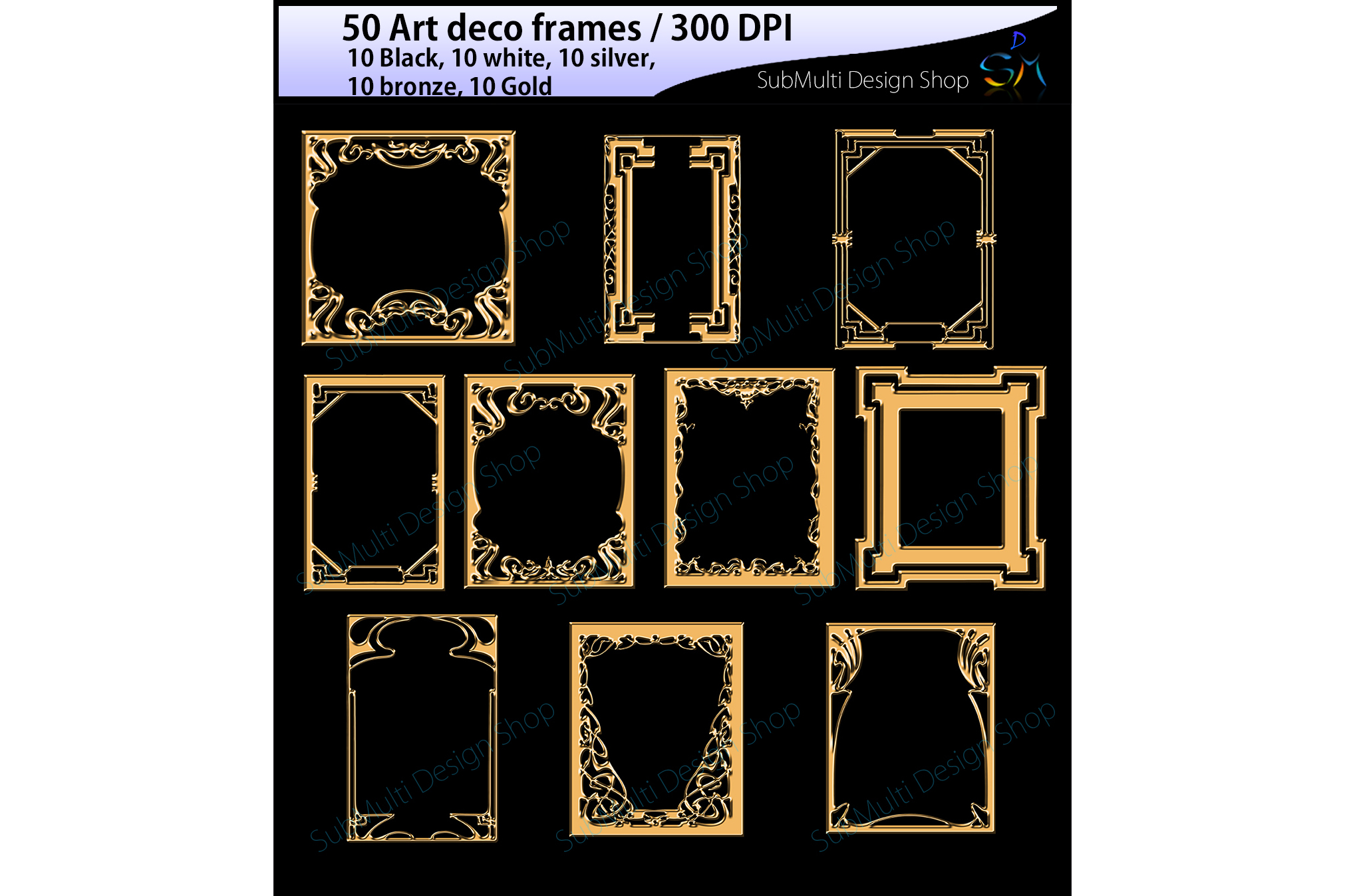 art deco frames / art deco frames clipart / art deco frames silhouette / art deco gold frames / art deco silver frame / High Quality example image 3