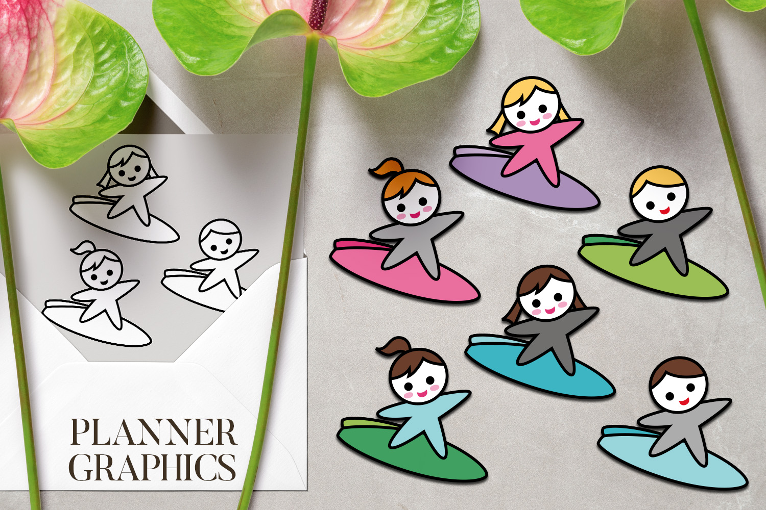 Hobby illustrations bundle - planner sticker graphics example image 9