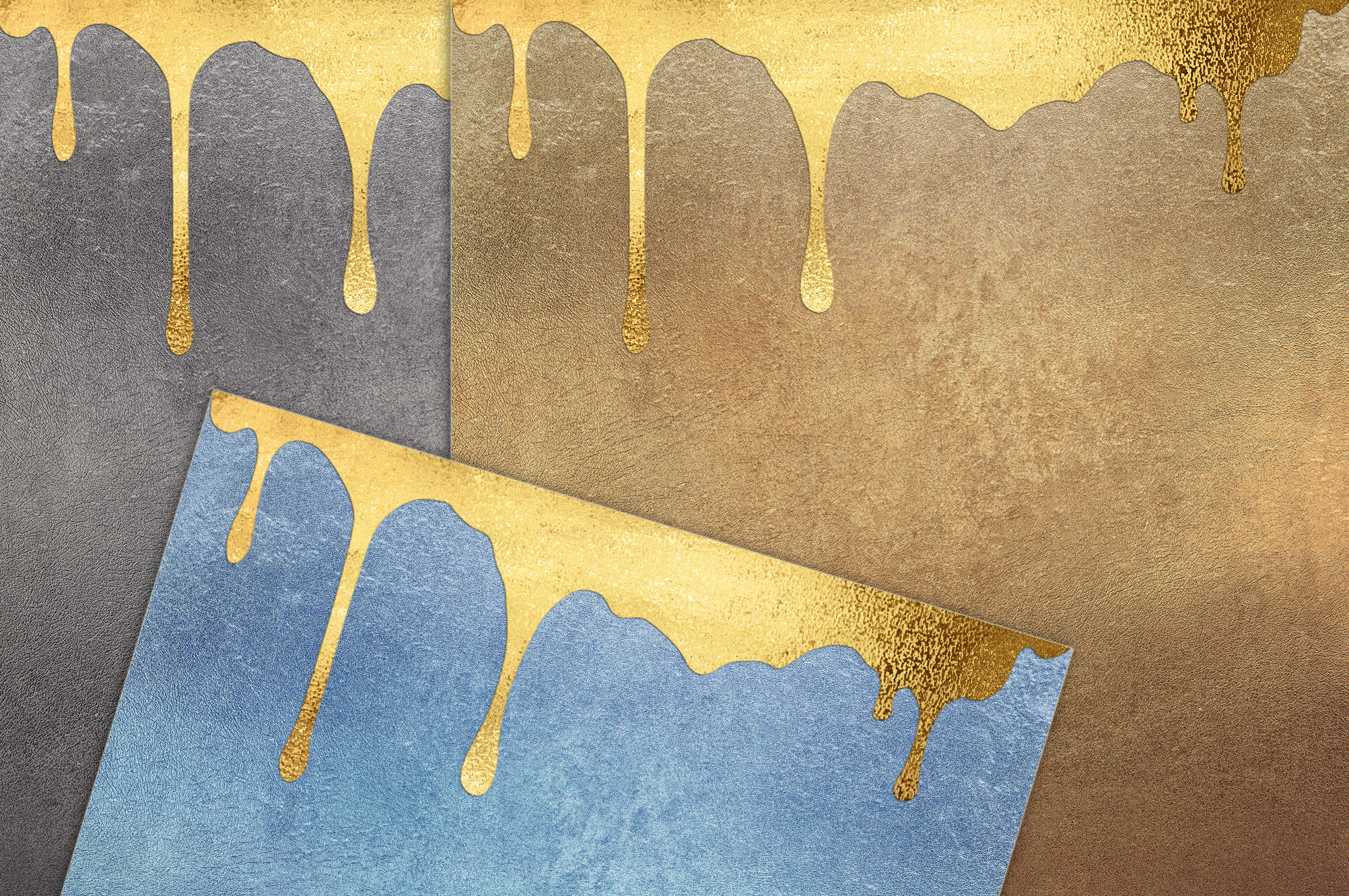 Gold Dripping Digital Paper example image 2