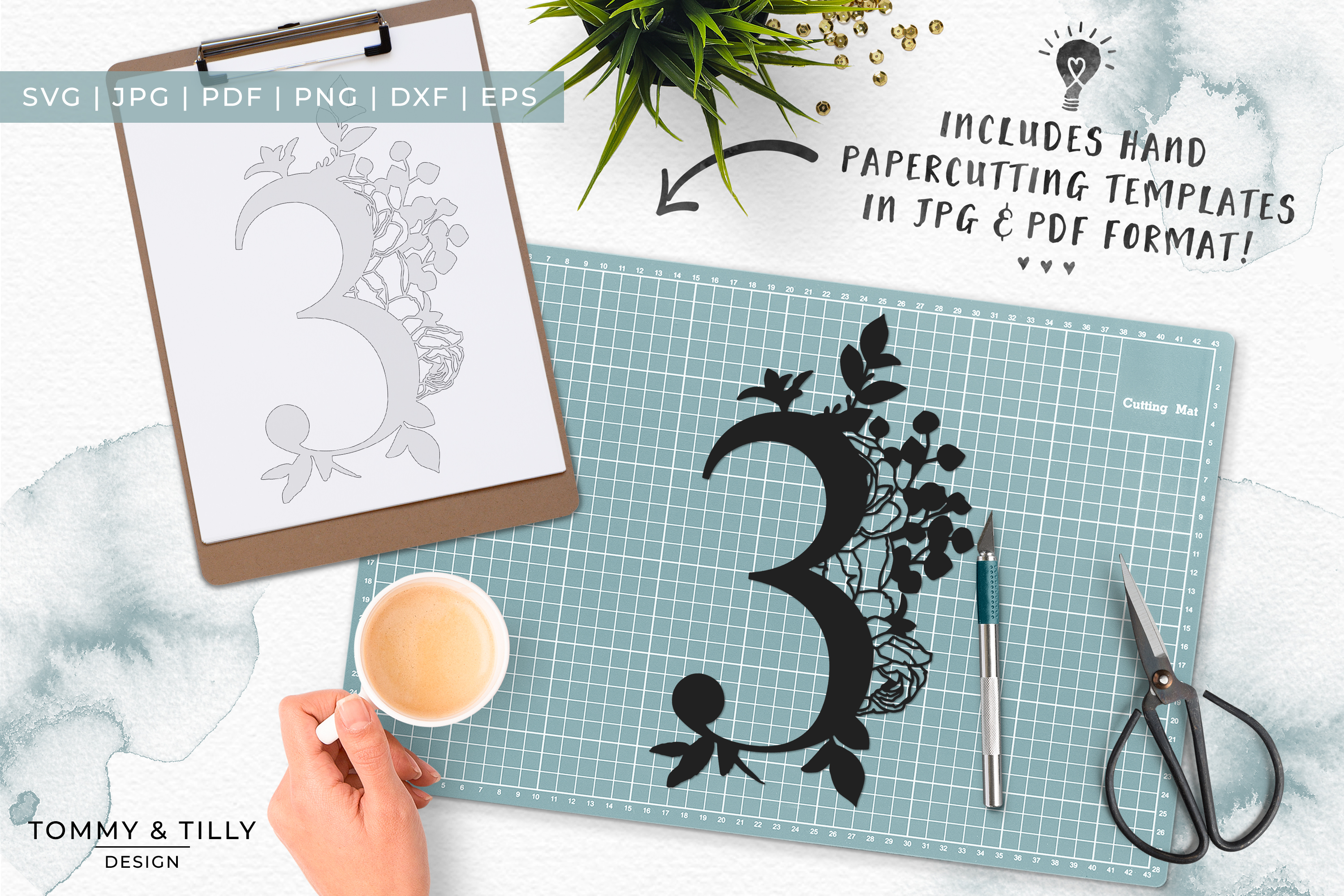 3 - Floral Bouquet Number Design - Paper Cut SVG EPS DXF PNG example image 6