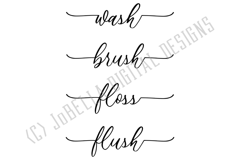 Wash Brush Floss Flush Bathroom SVG and Printable Design example image 2