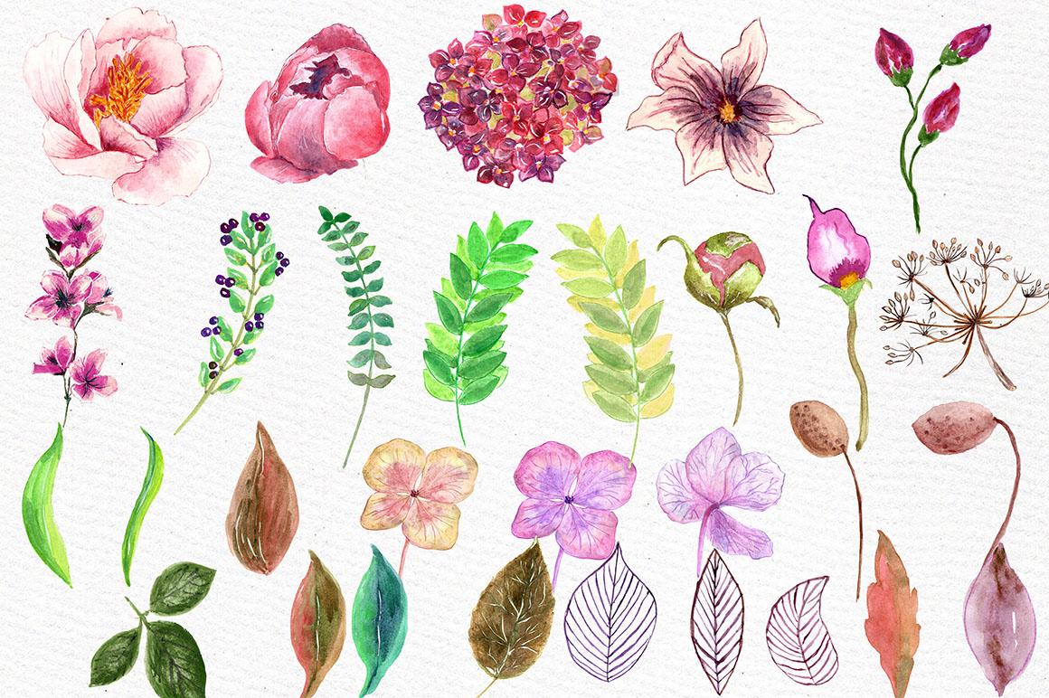 Watercolor floral clip art example image 3