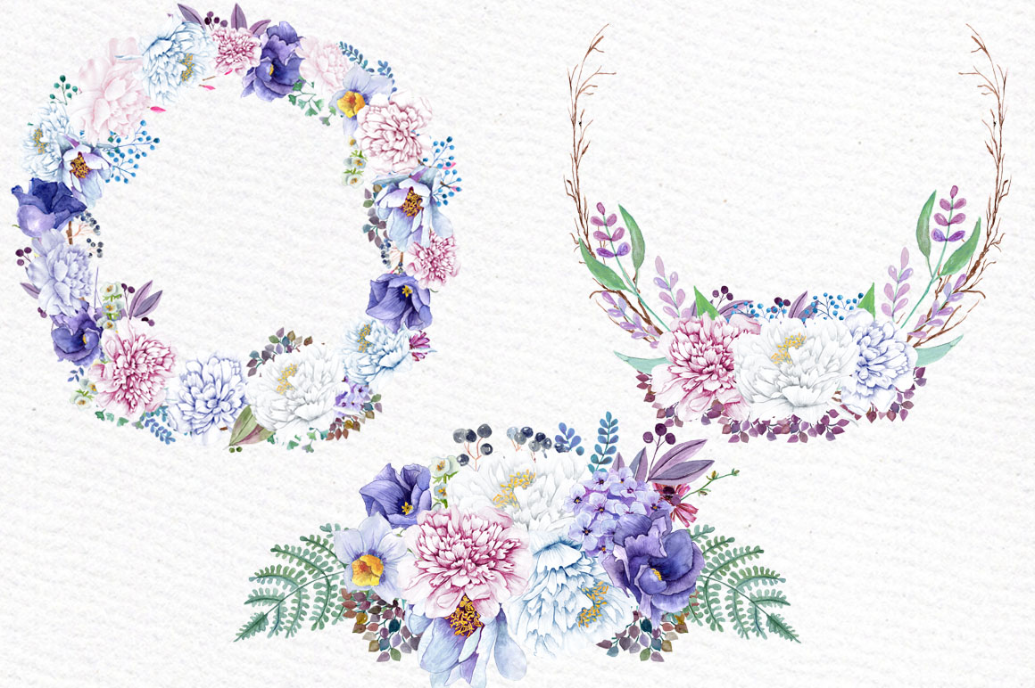 Watercolor wreaths and bouquets example image 2