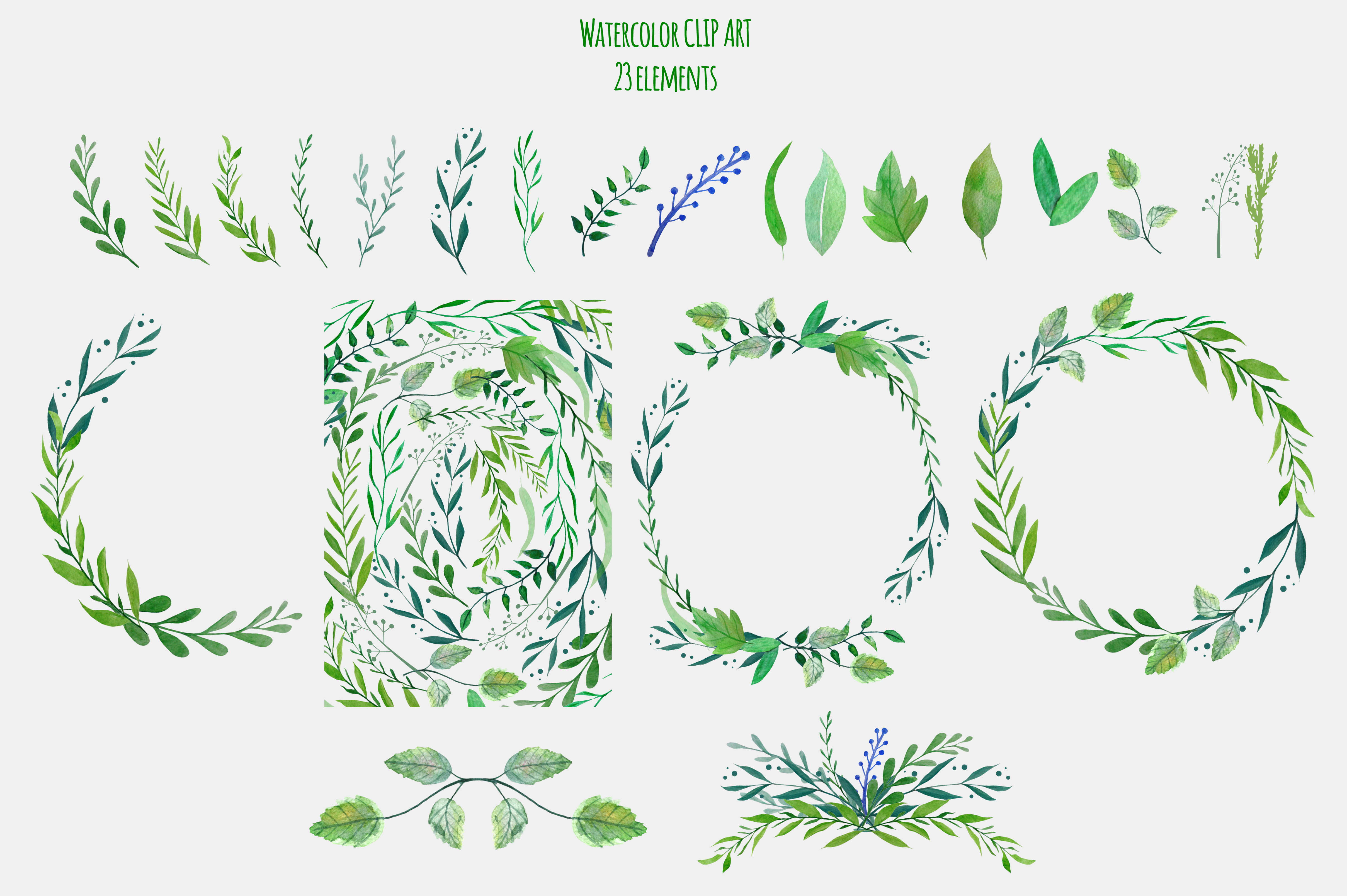 Botanical Watercolor Clipart  example image 2