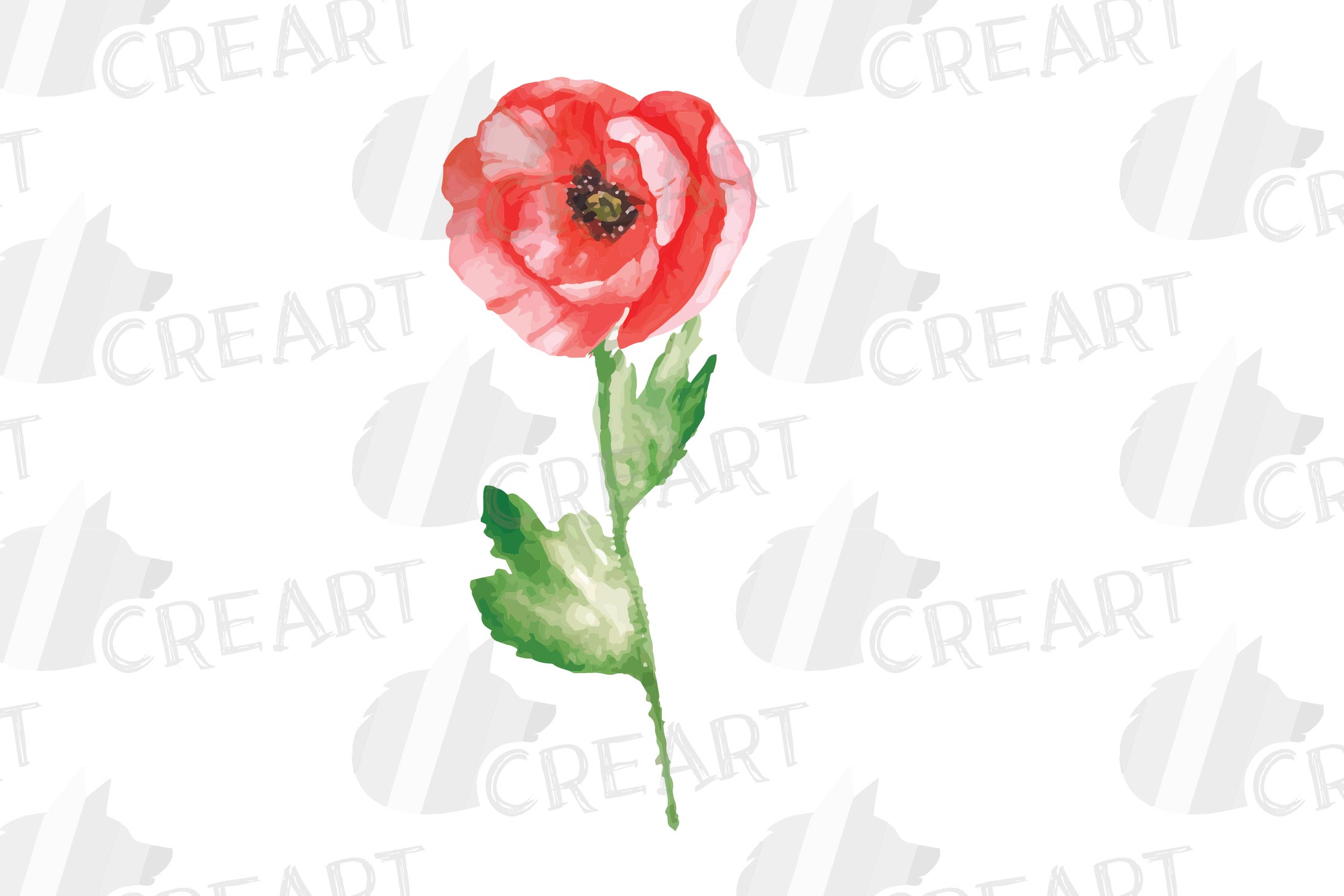 Watercolor red poppy flower and leaf decor clip art. Poppies example image 6