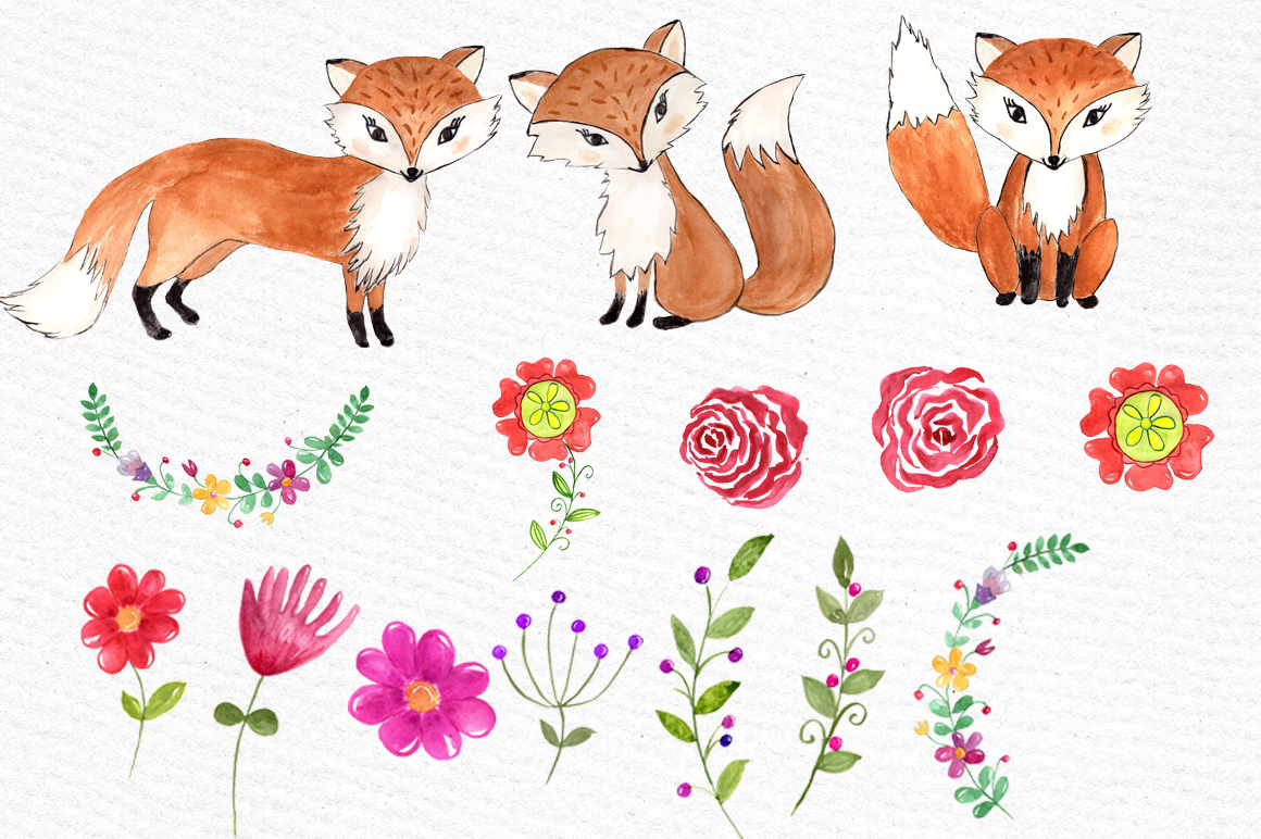 Watercolor fox clipart example image 3