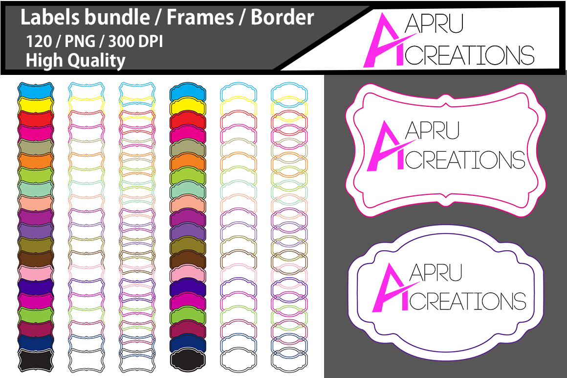 Empty Labels and Frames / 120 blank labels bundle example image 1