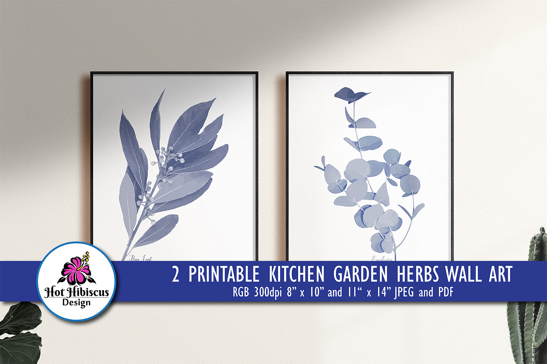 Pretty Indigo Blue Printable Kitchen Garden Herbs Art Prints example image 1