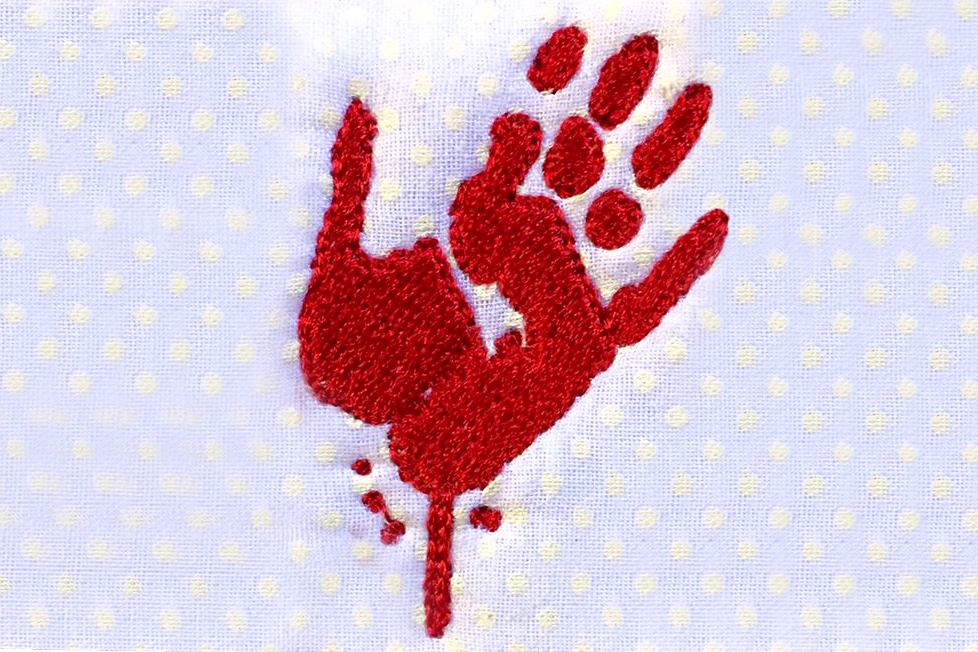 Mini Bloody Zombie Handprint Embroidery Design File example image 2
