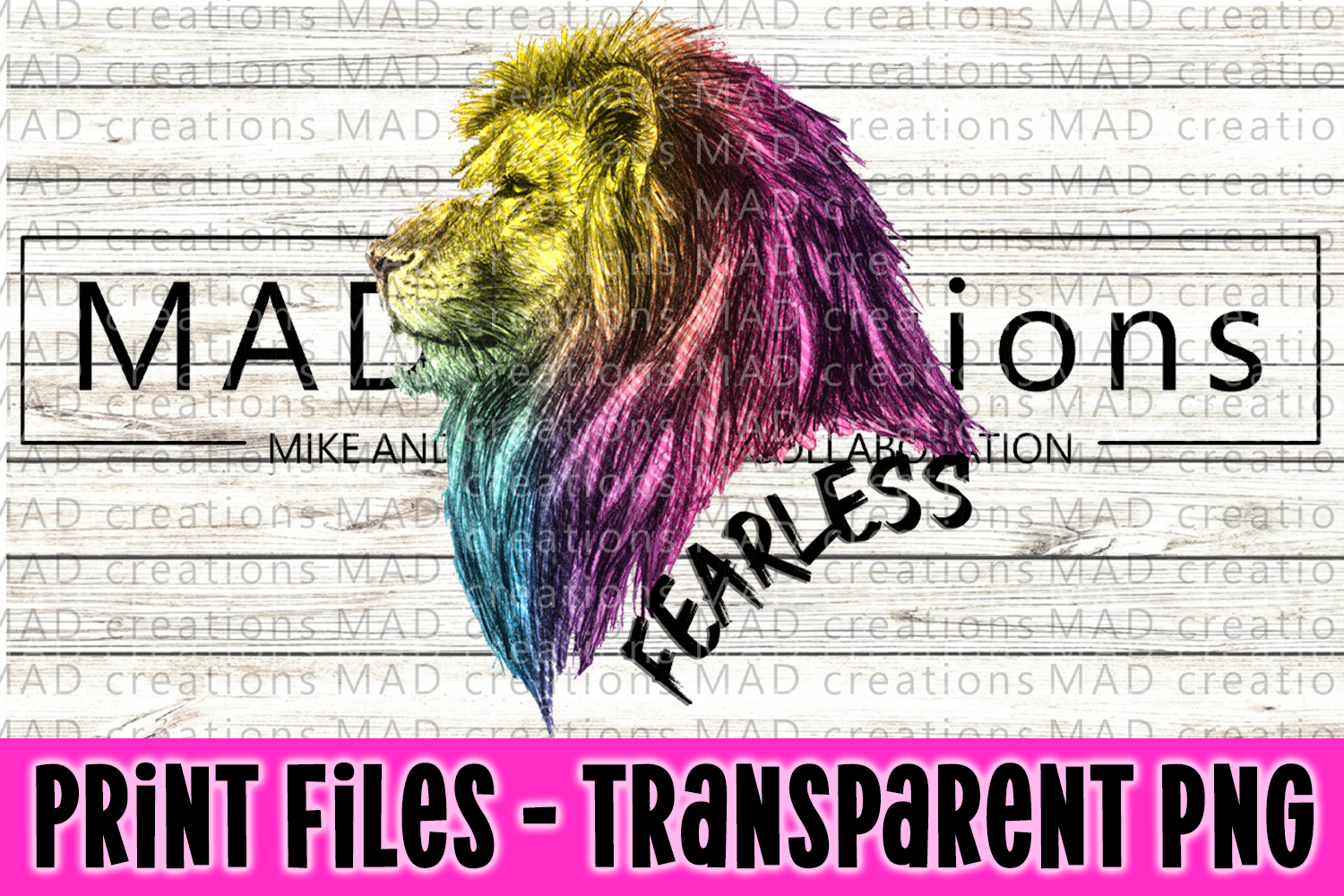 Fearless Rainbow Lion Print File example image 1