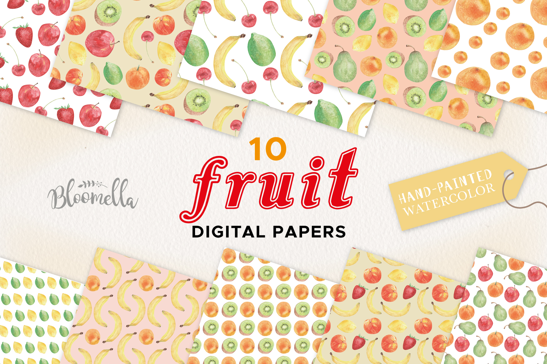 Fruit Seamless Patterns Digital Papers Watercolor Fun Apples example image 1