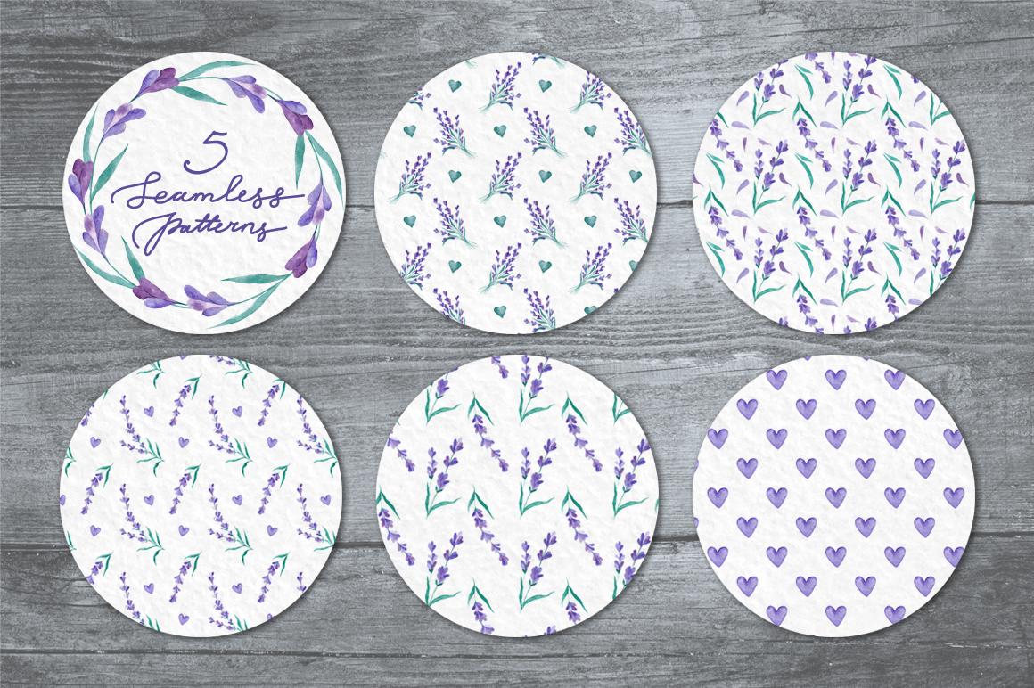 Watecolor Lavender Clip Art Set example image 4