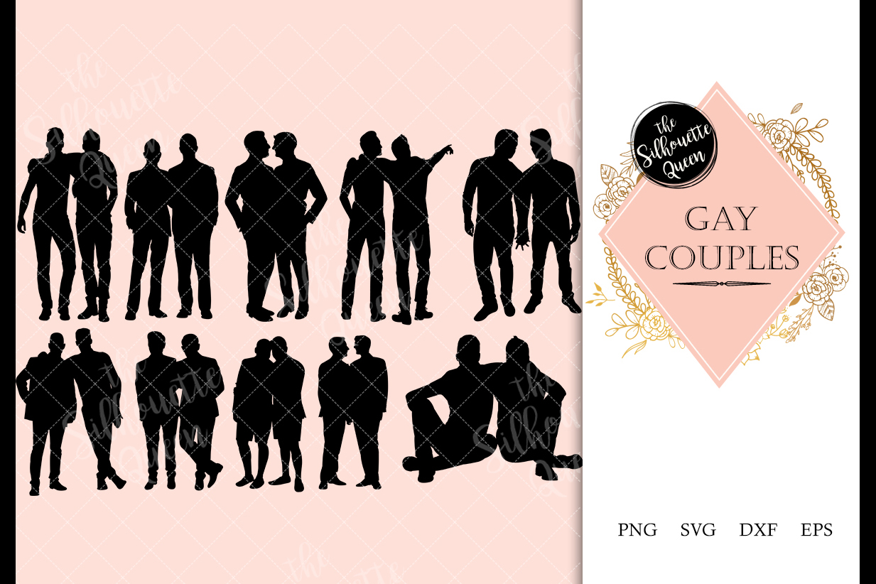 Gay Couple svg file, homosexual svg cut file example image 1
