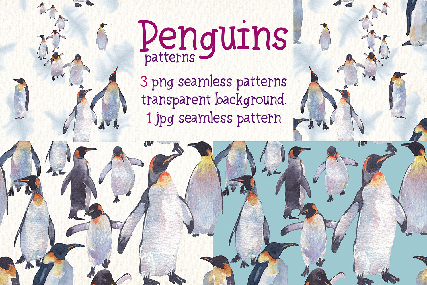 Penguins watercolor clipart example image 7