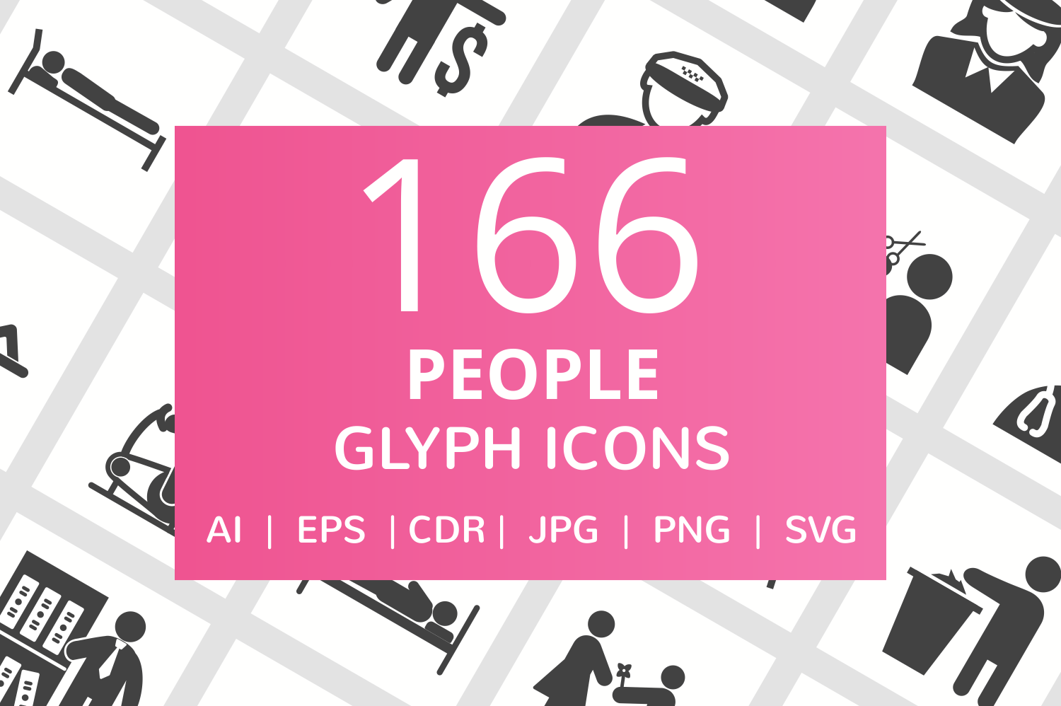 166 People Glyph Icons example image 1