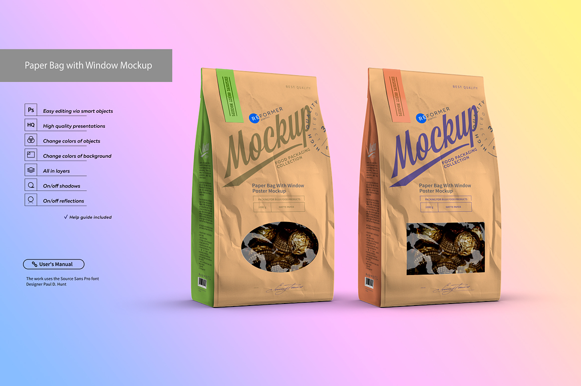 White Paper Bag with Window Mockup example image 3