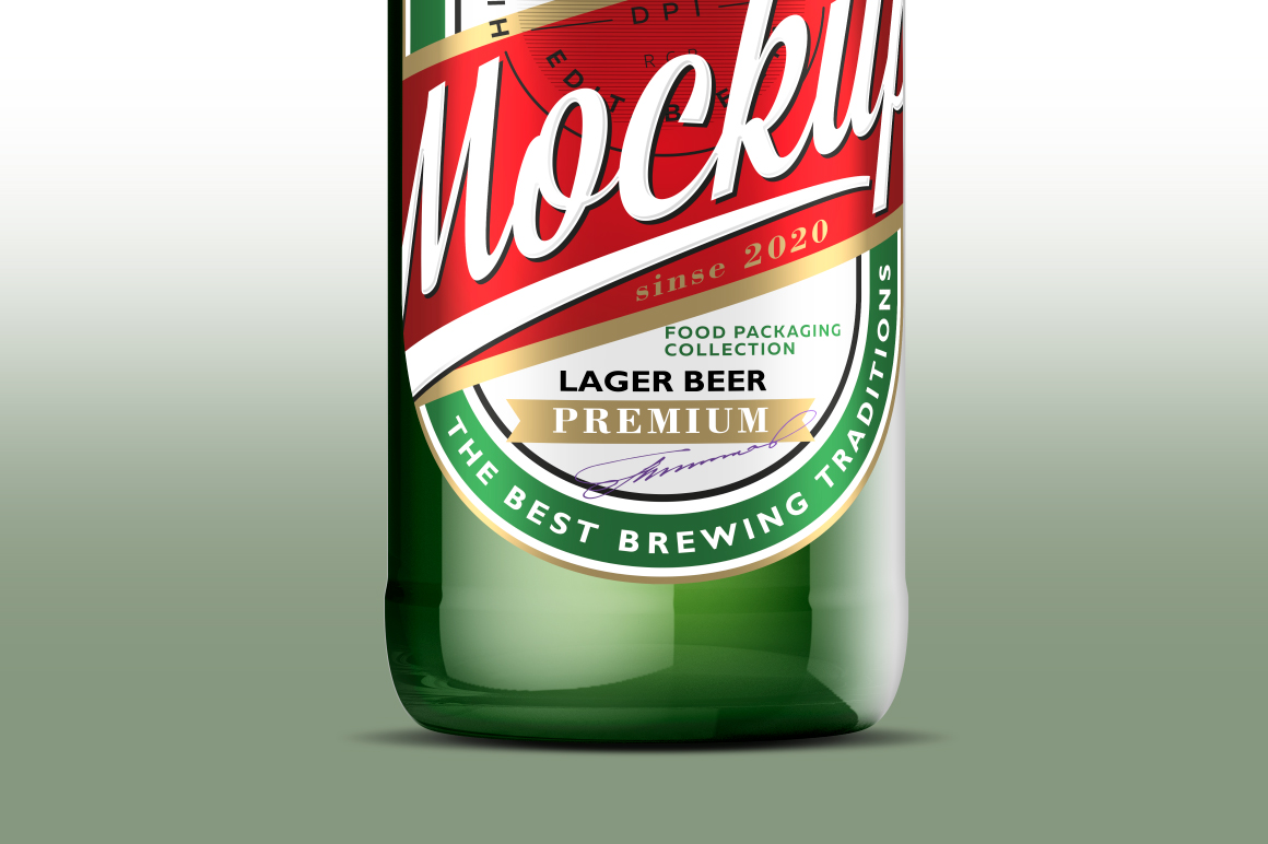 Green Glass Beer Bottle Mockup 500ml example image 4