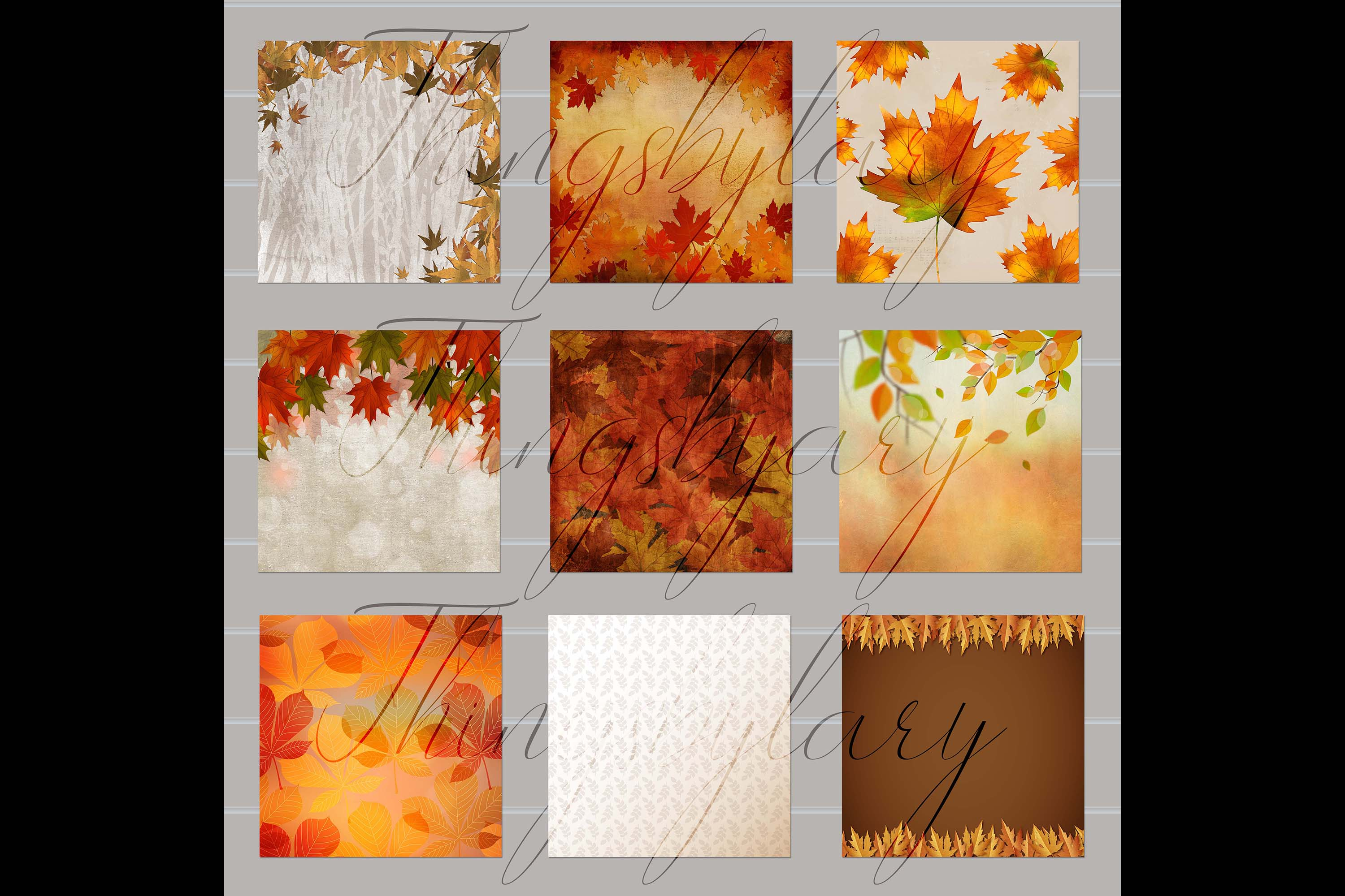 18 Autumn Leaves Digital Papers, thanksgiving fall wedding example image 8