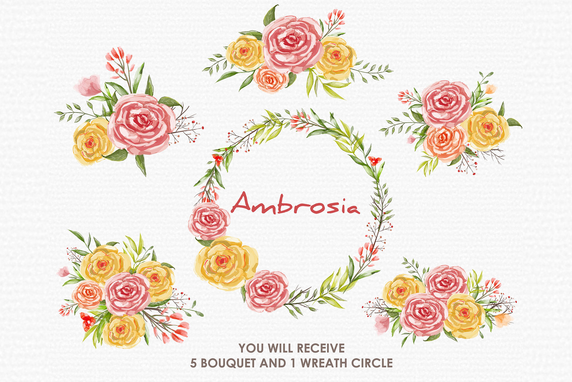Ambrosia - Digital Watercolor Floral Flower Style Clipart example image 3