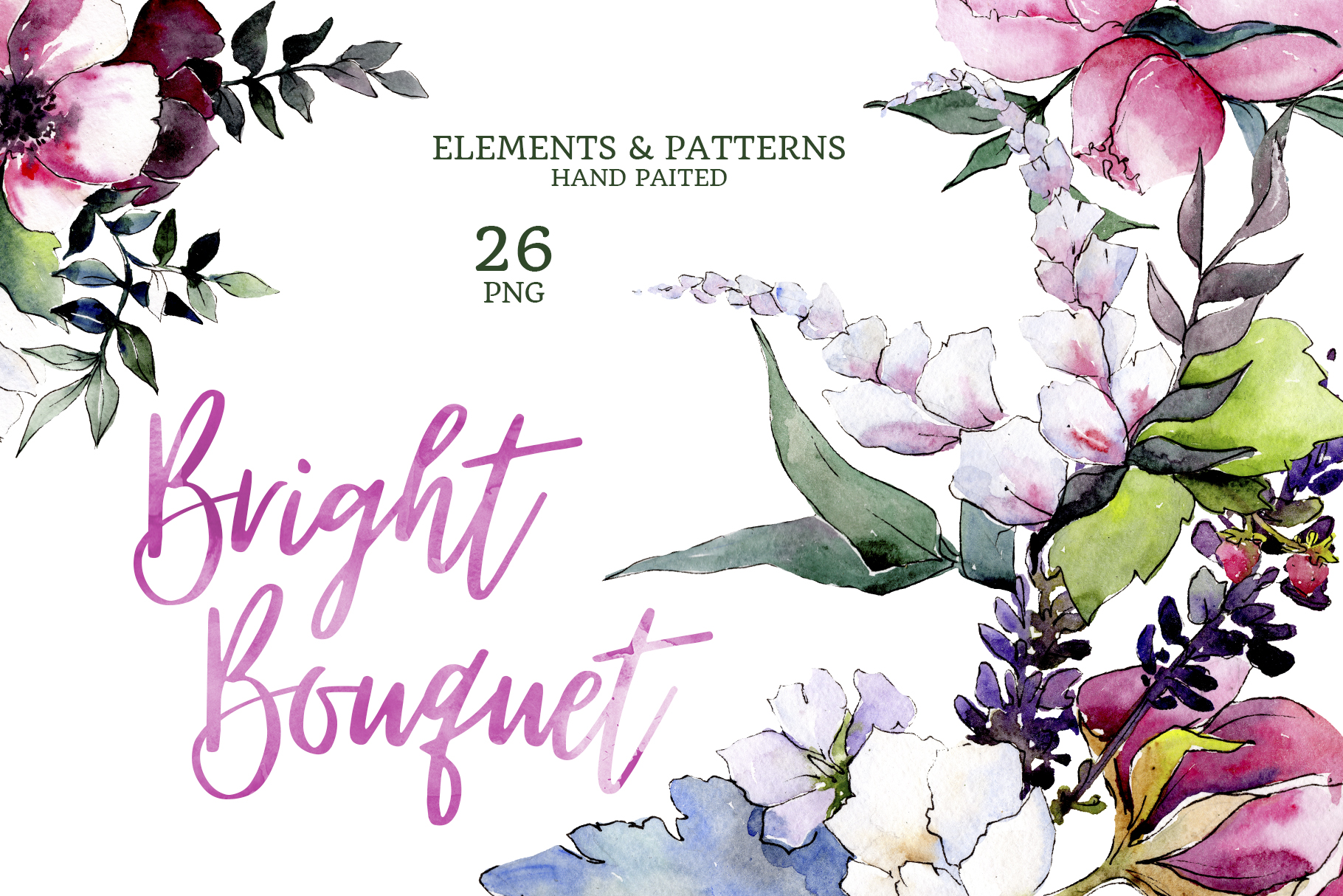 Bouquet of flowers pink Miss Piggy watercolor png example image 1