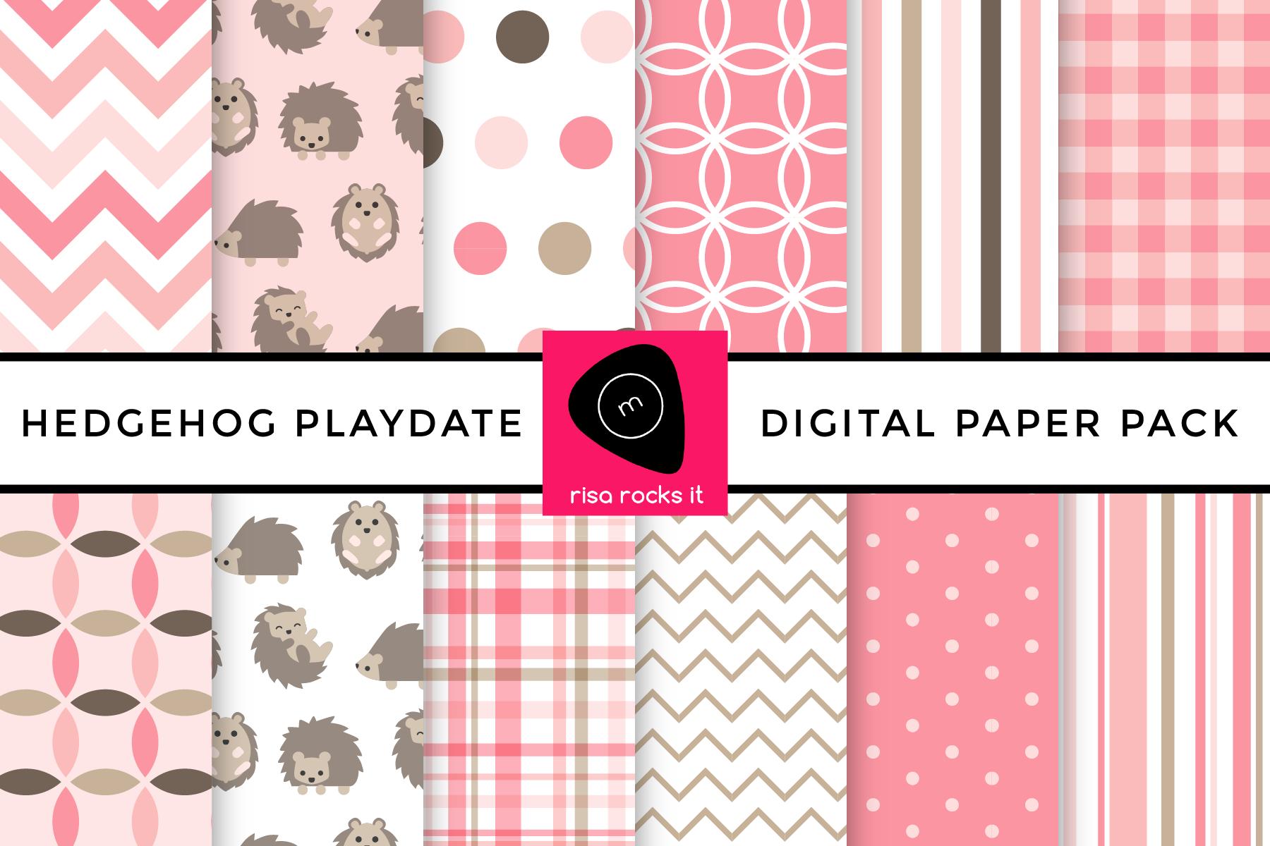 Hedgehog Play Date Digital Paper Pack example image 1