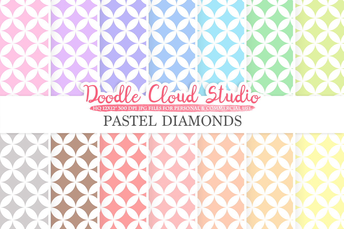 Pastel Diamond digital paper, Diamond pattern, Digital Diamond, pastel colors background, Instant Download for Personal & Commercial Use example image 1