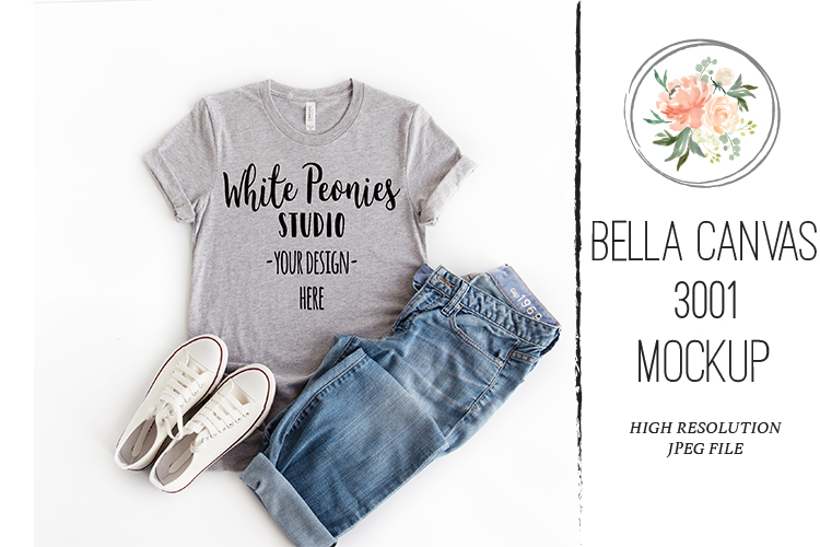 Athletic Heather Bella Canvas 3001 Shirt Mockup with Jeans example image 1