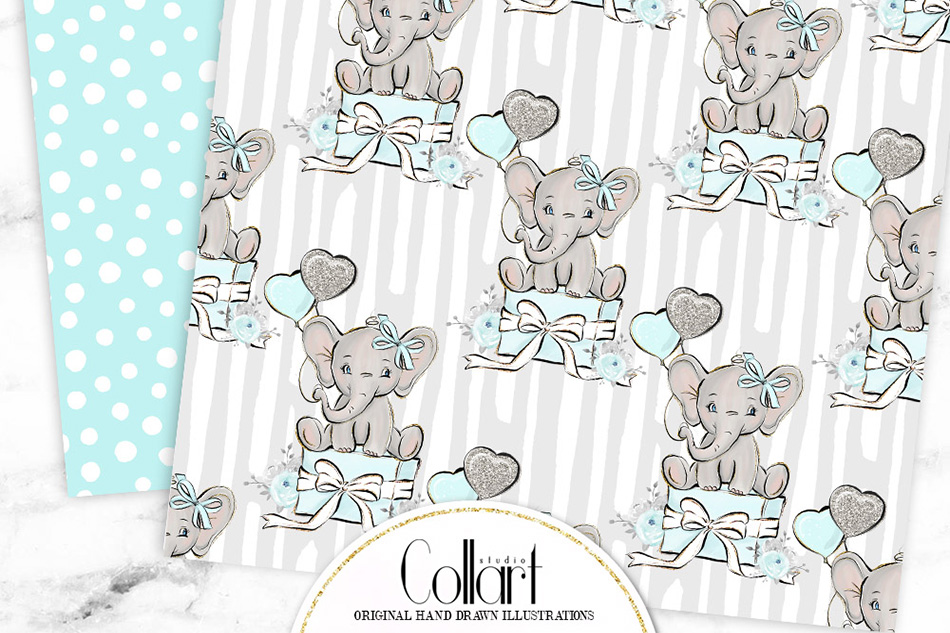 Elephant digital paper, baby boy papers, seamless patterns example image 3
