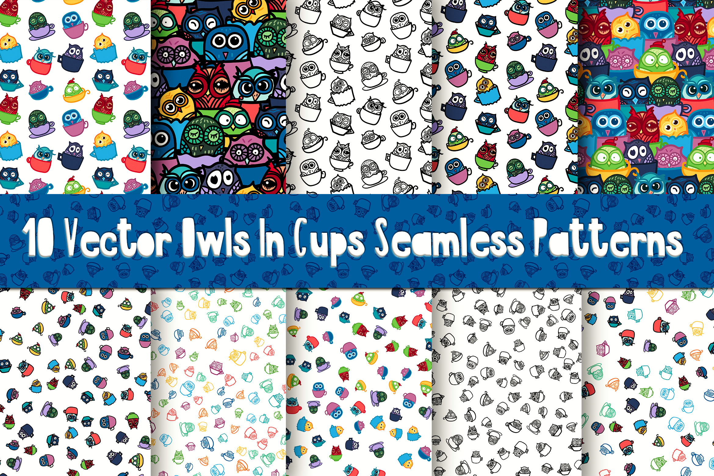 Nice Owls In Cups Patterns example image 1