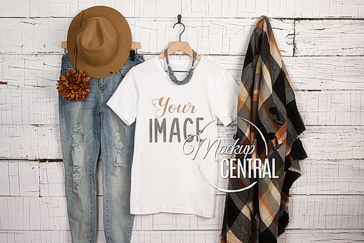 Woman's Blank White T-Shirt Halloween Fall Shirt Mockup JPG example image 1