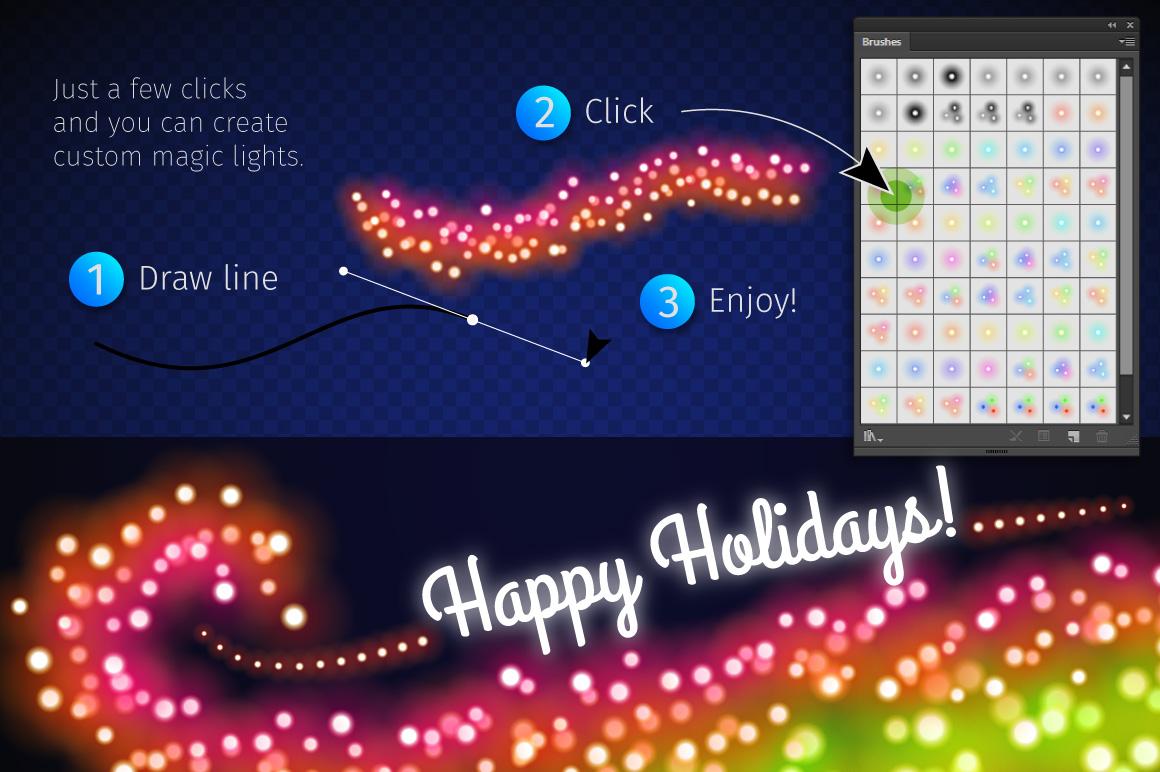 Magic Christmas Lights Vector Brushes Big Set example image 13