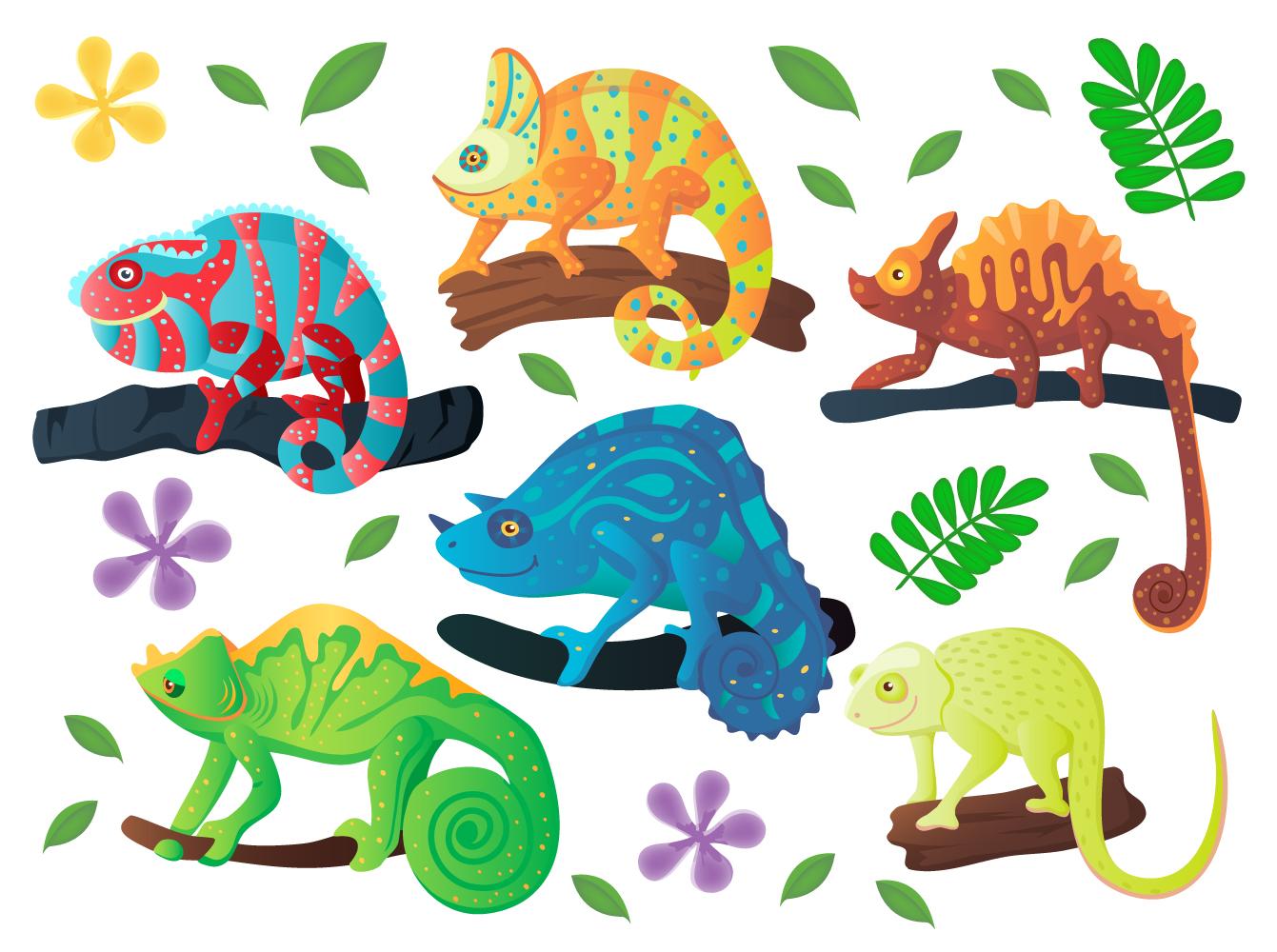 Chameleon iguana cartoon vector set example image 2
