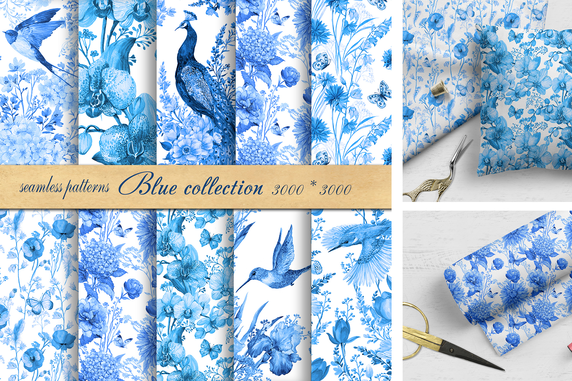 Seamless Pattern Watercolor Blue example image 1
