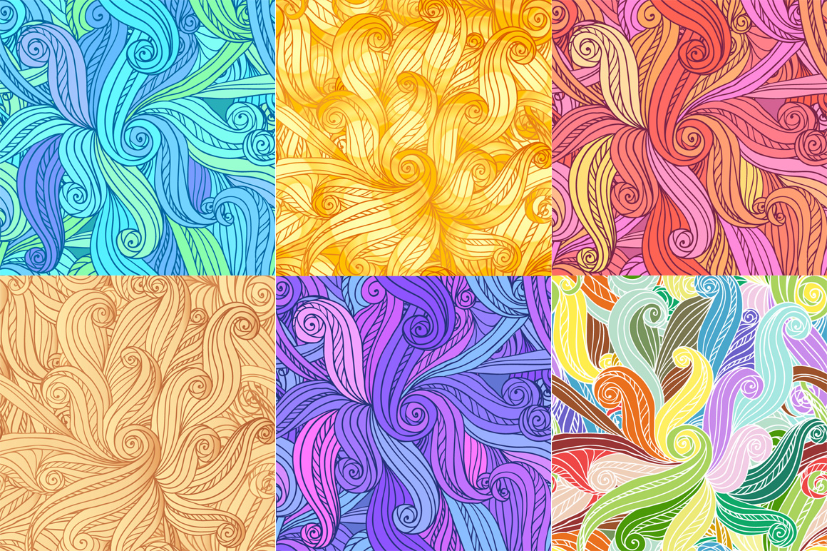 24 hand-drawn seamless patterns example image 8