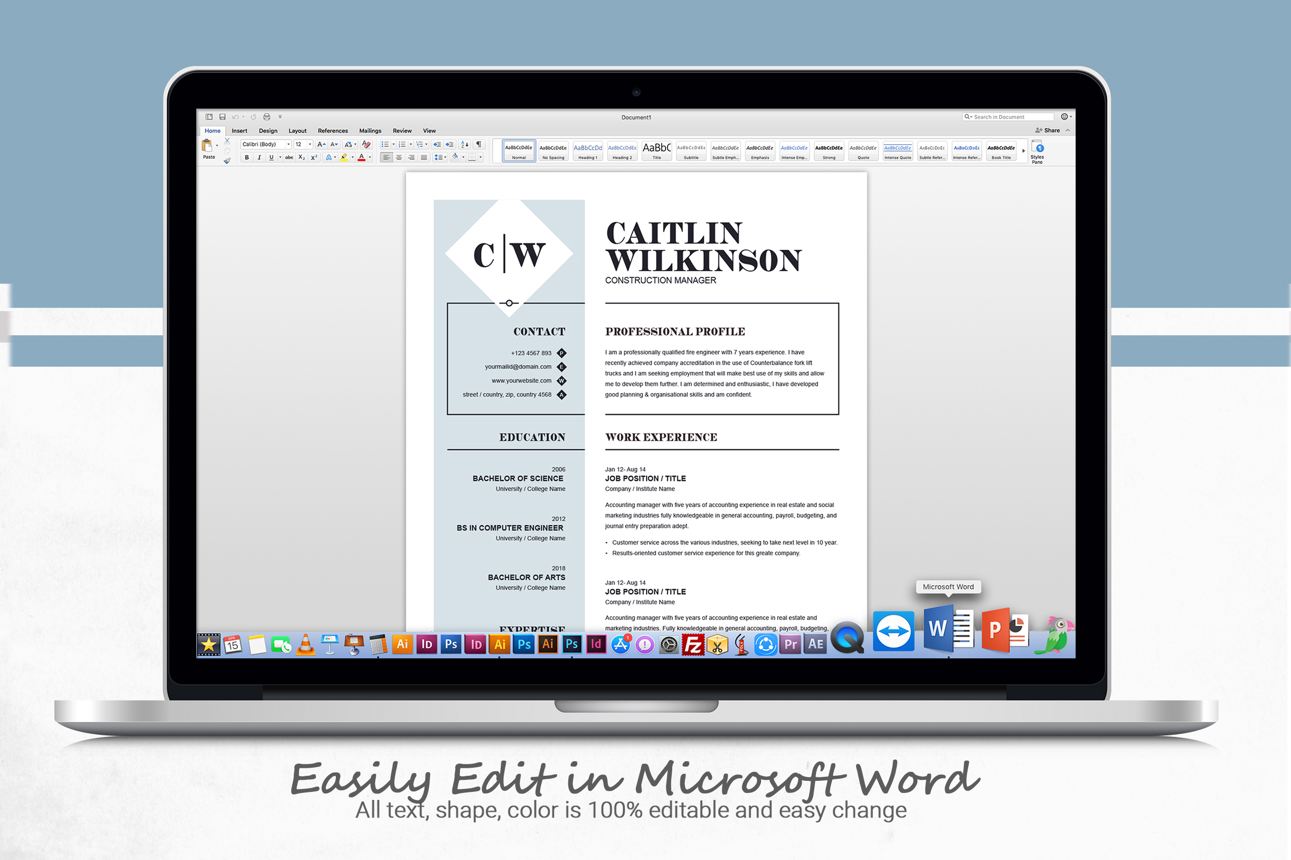Professional Resume Template | MS Word, PSD, EPS example image 5