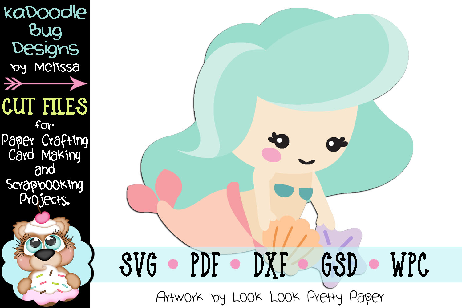 Collecting Shells Mermaid Cut File - SVG PDF DXF GSD example image 1