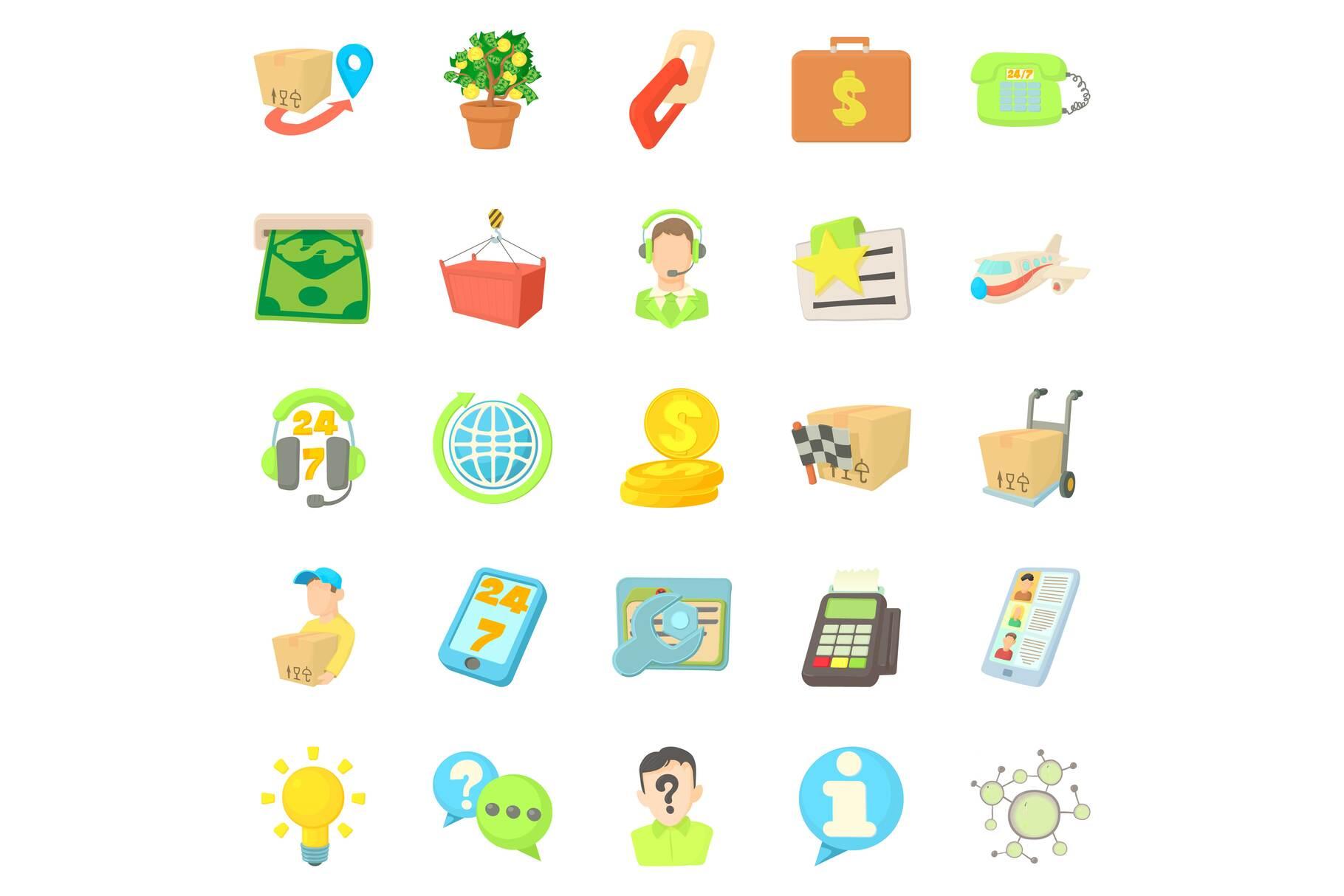 Debit card icons set, cartoon style example image 1