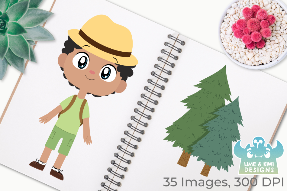 Camping Boys Clipart, Instant Download Vector Art example image 3