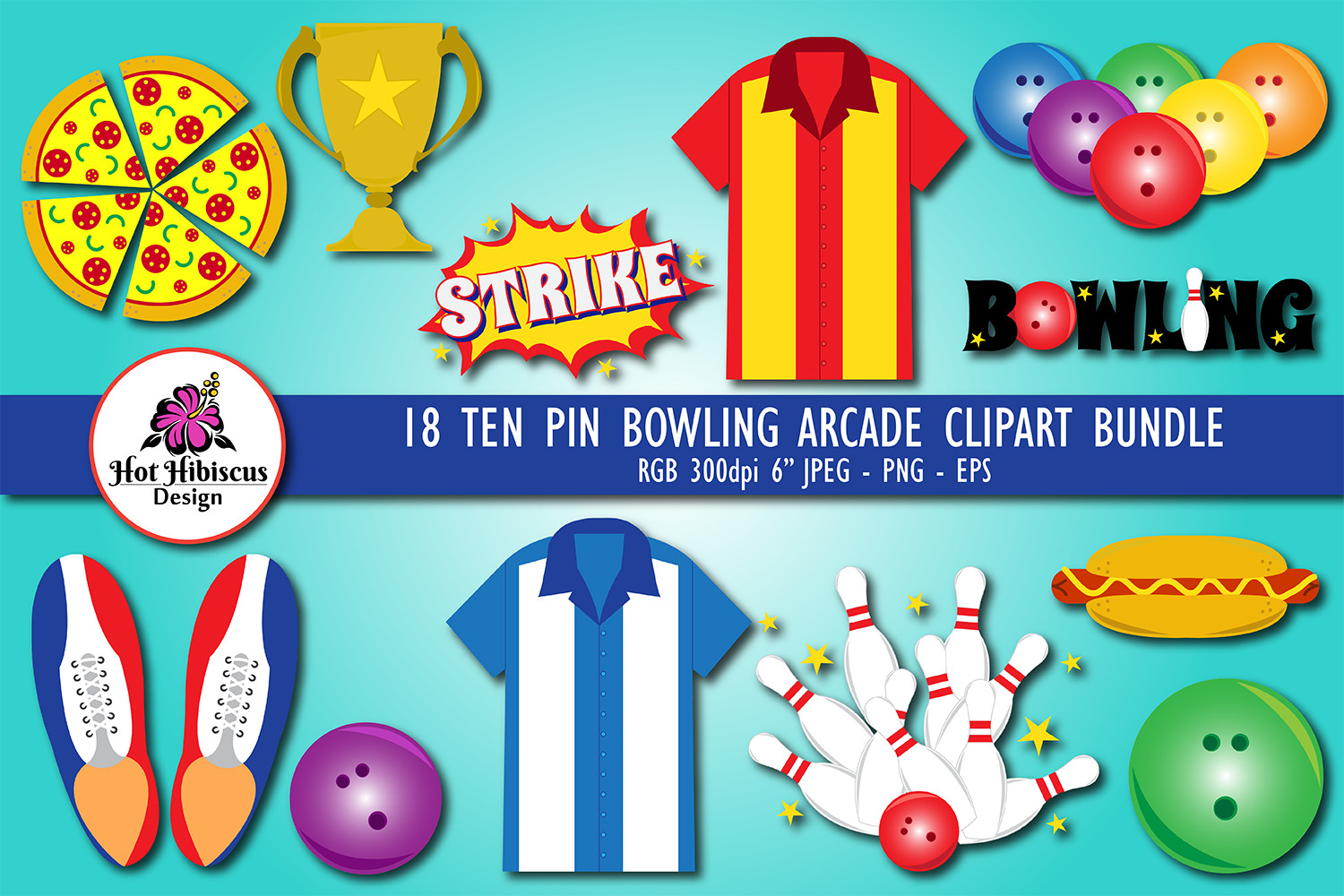 Ten Pin Bowling Clipart Graphics Bundle example image 1