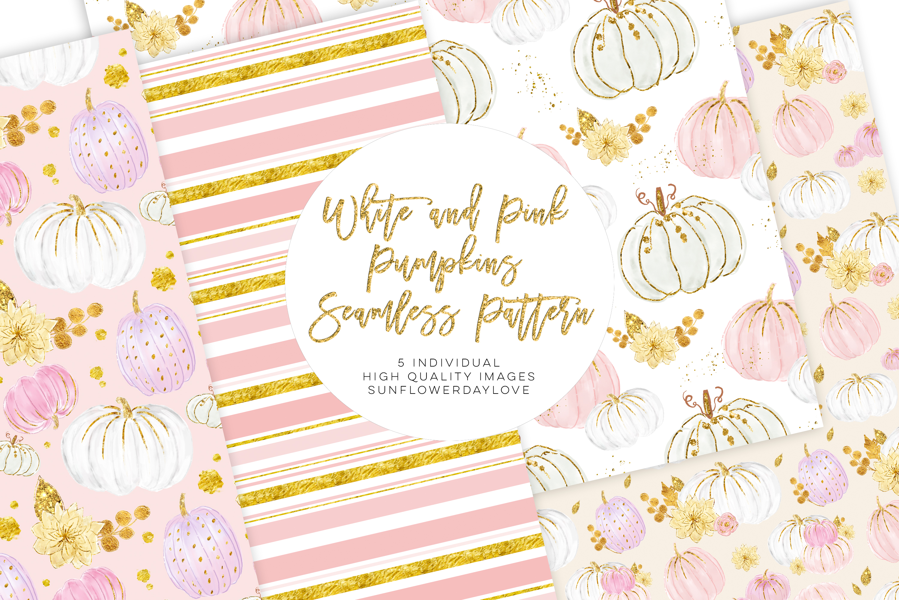 White and Pink Pumpkins Patterns, autumn pattern example image 2
