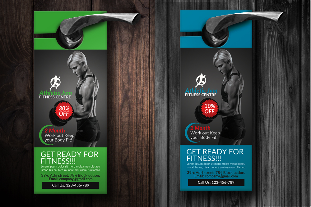 Body Fitness Club Door Hangers example image 2