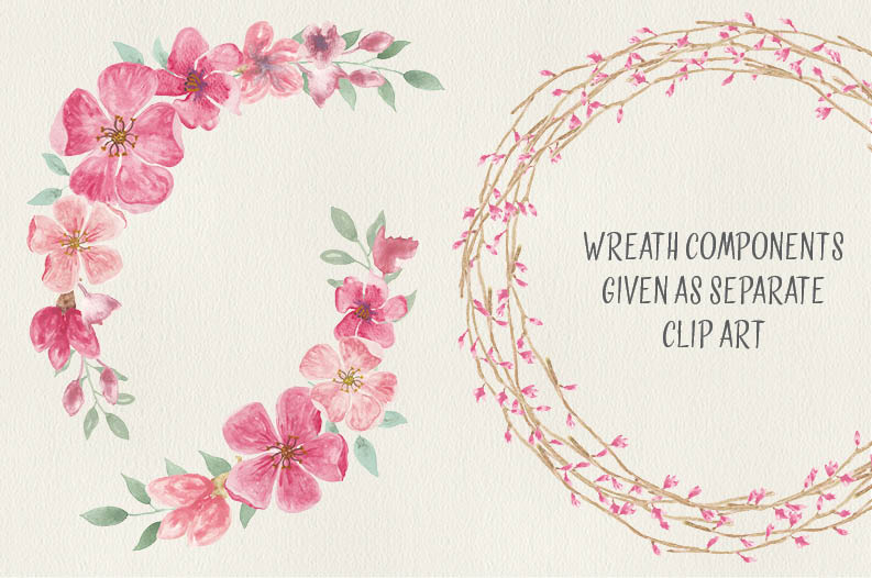 Watercolor wreath of peach blossoms example image 3